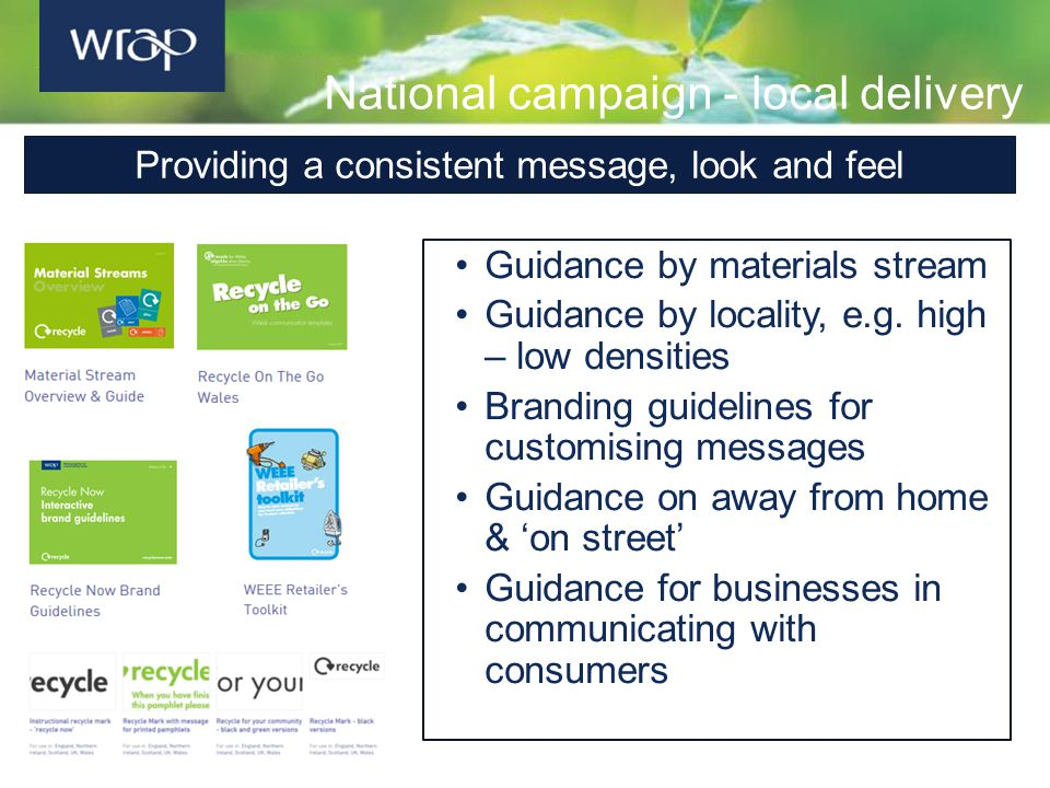 National campaign - local delivery Guidance by materials stream Guidance by locality, e.g. high – low densities Branding guidelines for customising me