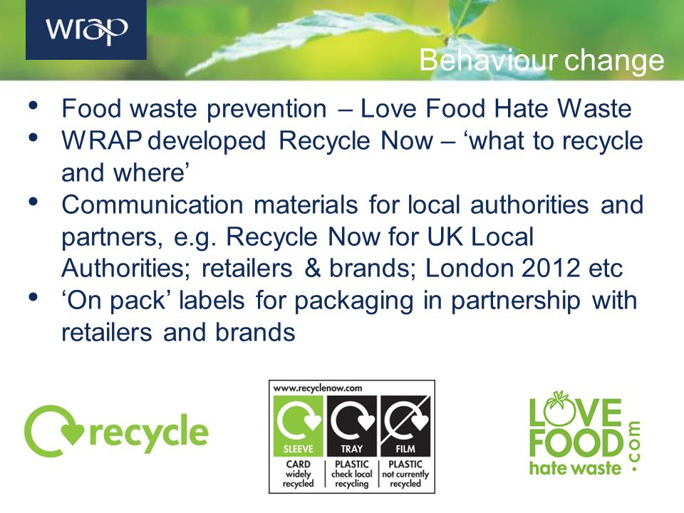 Behaviour change Food waste prevention – Love Food Hate Waste WRAP developed Recycle Now – 'what to recycle and where' Communication materials for local authorities and partners, e.g.
