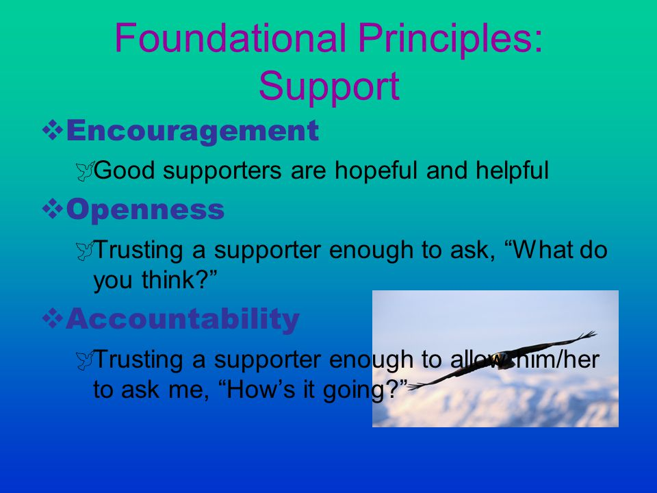 "Foundational Principles: Support  Encouragement  Good supporters are hopeful and helpful  Openness  Trusting a supporter enough to ask, ""What do y"
