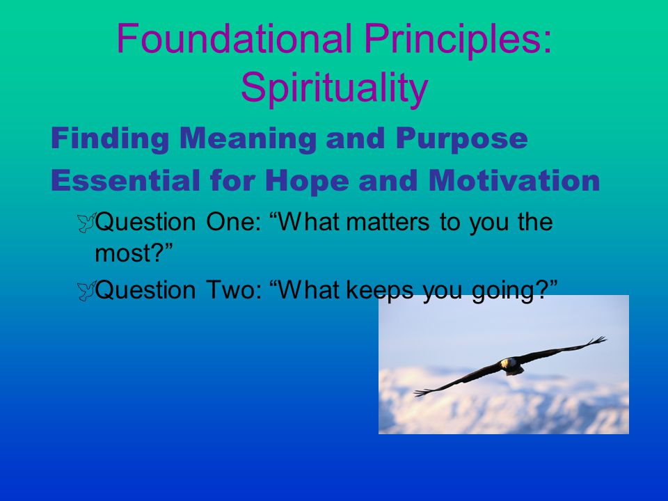 "Foundational Principles: Spirituality Finding Meaning and Purpose Essential for Hope and Motivation  Question One: ""What matters to you the most?"" "