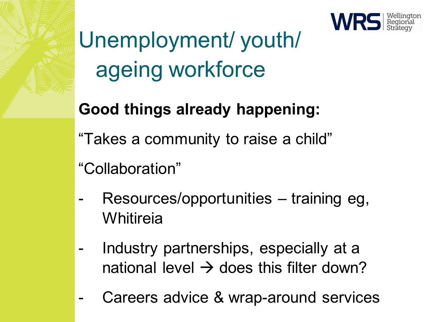 Unemployment/ youth/ ageing workforce Good things already happening: Takes a community to raise a child Collaboration -Resources/opportunities – training eg, Whitireia -Industry partnerships, especially at a national level  does this filter down.