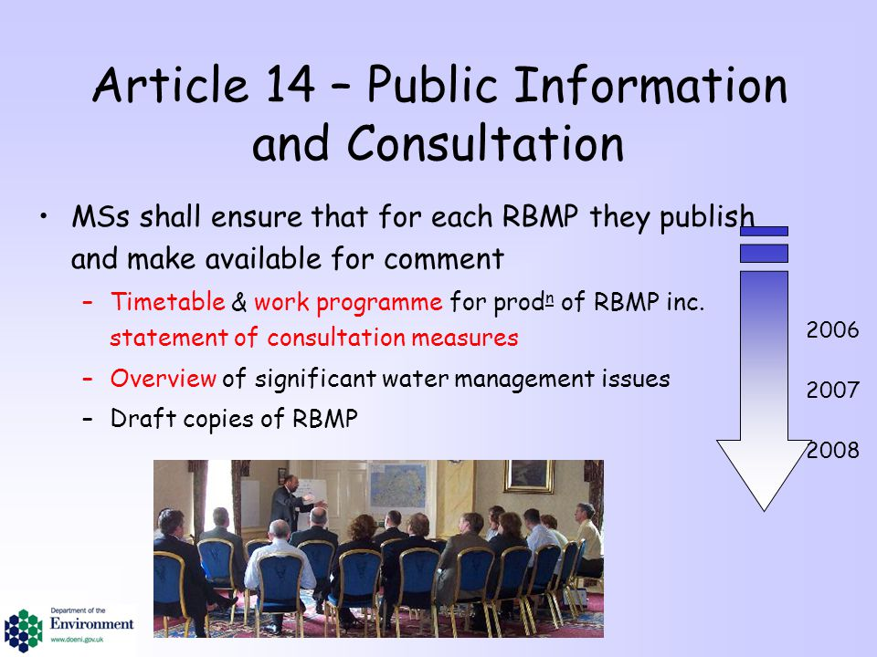 Article 14 – Public Information and Consultation MSs shall ensure that for each RBMP they publish and make available for comment –Timetable & work pro