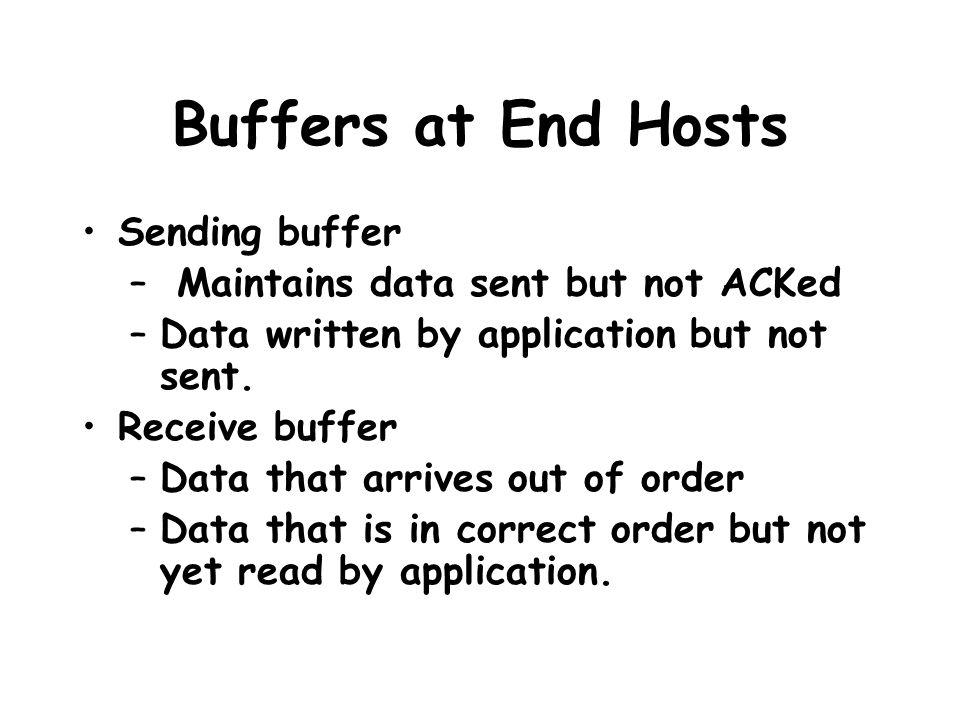 Buffers at End Hosts Sending buffer – Maintains data sent but not ACKed –Data written by application but not sent.