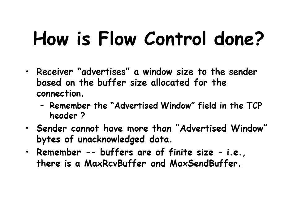 How is Flow Control done.