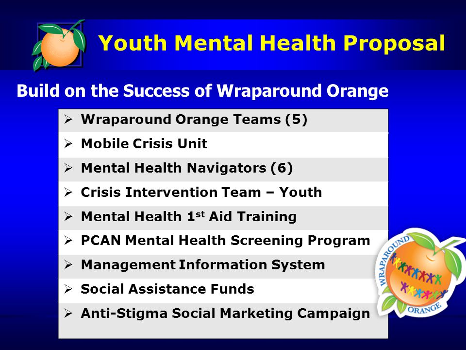 Youth Mental Health Proposal Build on the Success of Wraparound Orange  Wraparound Orange Teams (5)  Mobile Crisis Unit  Mental Health Navigators (6)  Crisis Intervention Team – Youth  Mental Health 1 st Aid Training  PCAN Mental Health Screening Program  Management Information System  Social Assistance Funds  Anti-Stigma Social Marketing Campaign