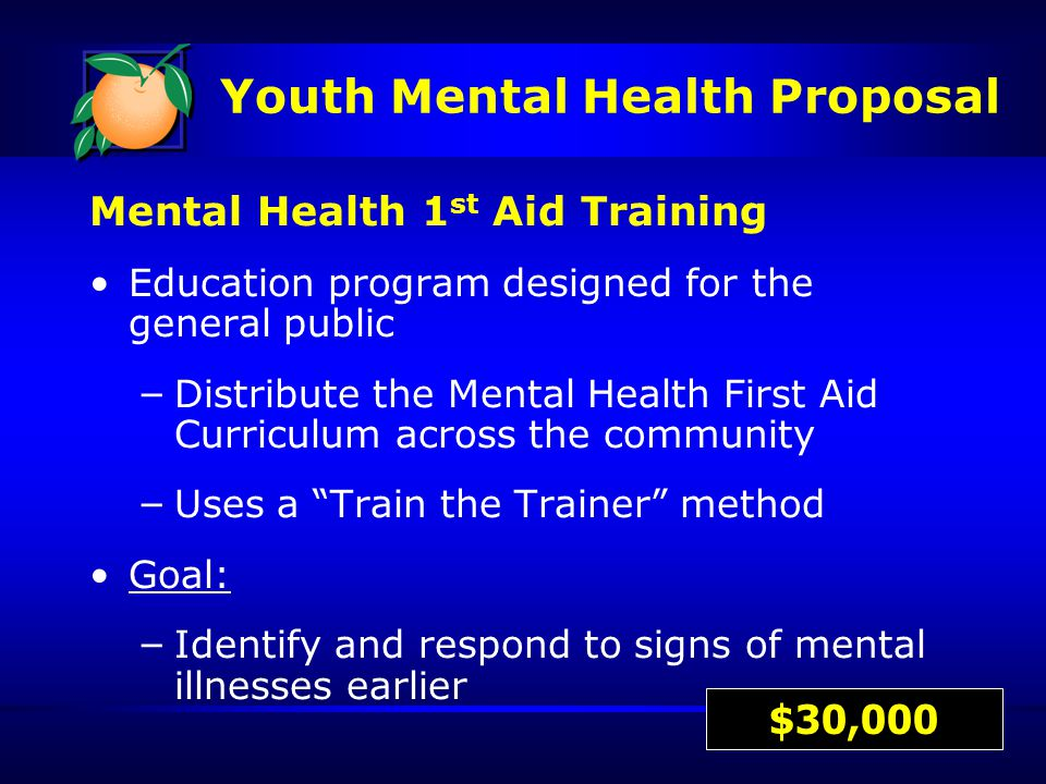 Mental Health 1 st Aid Training Education program designed for the general public – Distribute the Mental Health First Aid Curriculum across the community – Uses a Train the Trainer method Goal: – Identify and respond to signs of mental illnesses earlier $30,000 Youth Mental Health Proposal