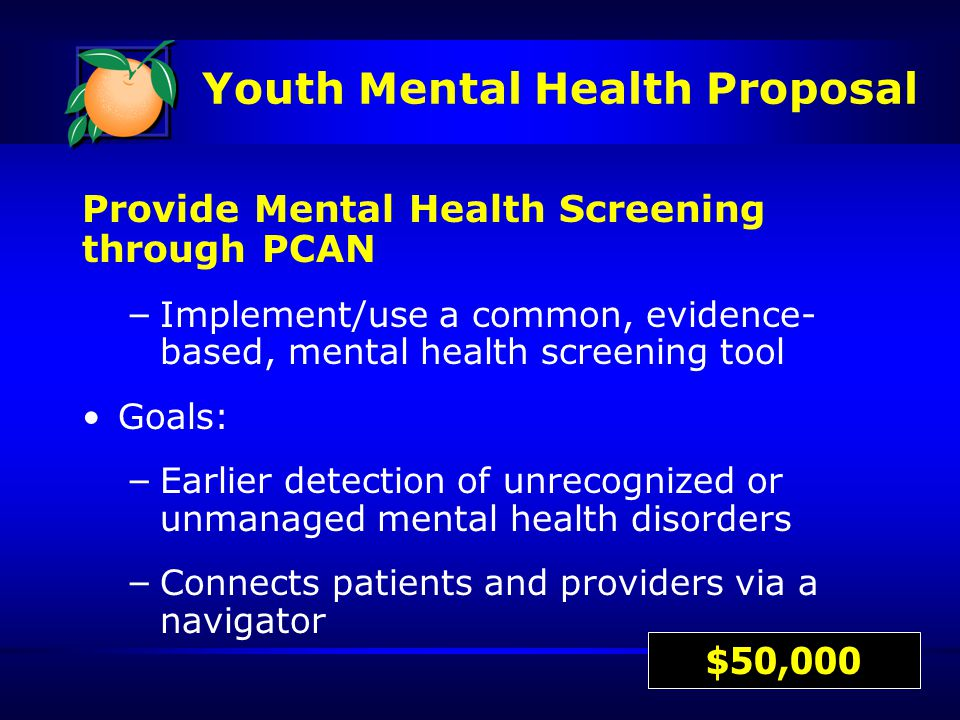 Provide Mental Health Screening through PCAN – Implement/use a common, evidence- based, mental health screening tool Goals: – Earlier detection of unrecognized or unmanaged mental health disorders – Connects patients and providers via a navigator $50,000 Youth Mental Health Proposal