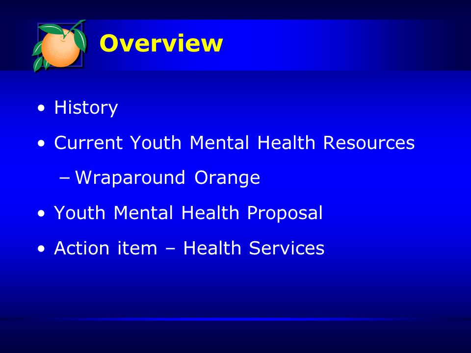 Wraparound Orange Teams (5) 2 person teams that provide services to high-risk children and youth Goals: – Assure youth with signs of mental illness get referred to treatment – Provide evidence based services to children and their families $498,129 Youth Mental Health Proposal