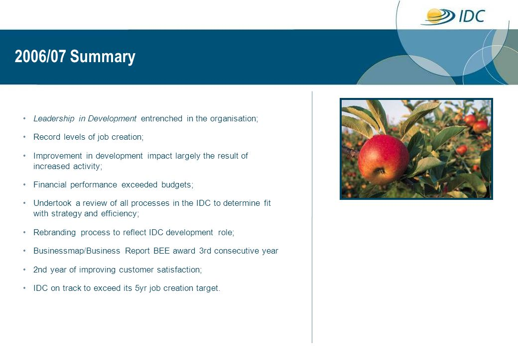 2006/07 Summary Leadership in Development entrenched in the organisation; Record levels of job creation; Improvement in development impact largely the result of increased activity; Financial performance exceeded budgets; Undertook a review of all processes in the IDC to determine fit with strategy and efficiency; Rebranding process to reflect IDC development role; Businessmap/Business Report BEE award 3rd consecutive year 2nd year of improving customer satisfaction; IDC on track to exceed its 5yr job creation target.