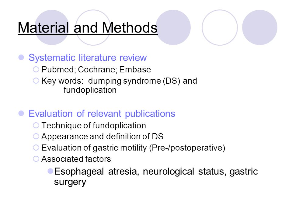 Material and Methods Systematic literature review  Pubmed; Cochrane; Embase  Key words: dumping syndrome (DS) and fundoplication Evaluation of relev