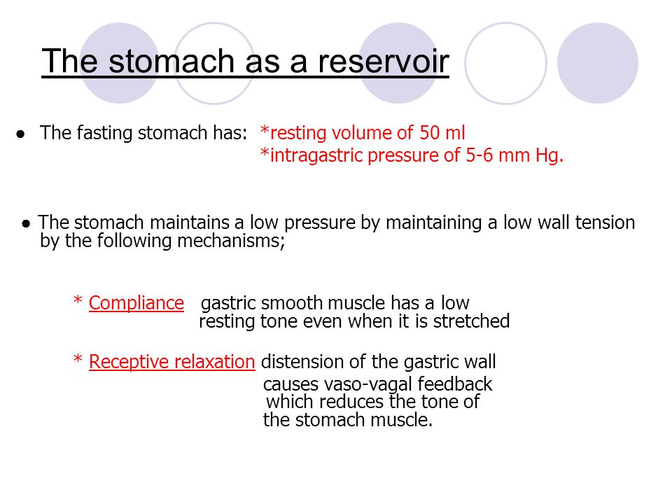 ● The fasting stomach has: *resting volume of 50 ml *intragastric pressure of 5-6 mm Hg. ● The stomach maintains a low pressure by maintaining a low w