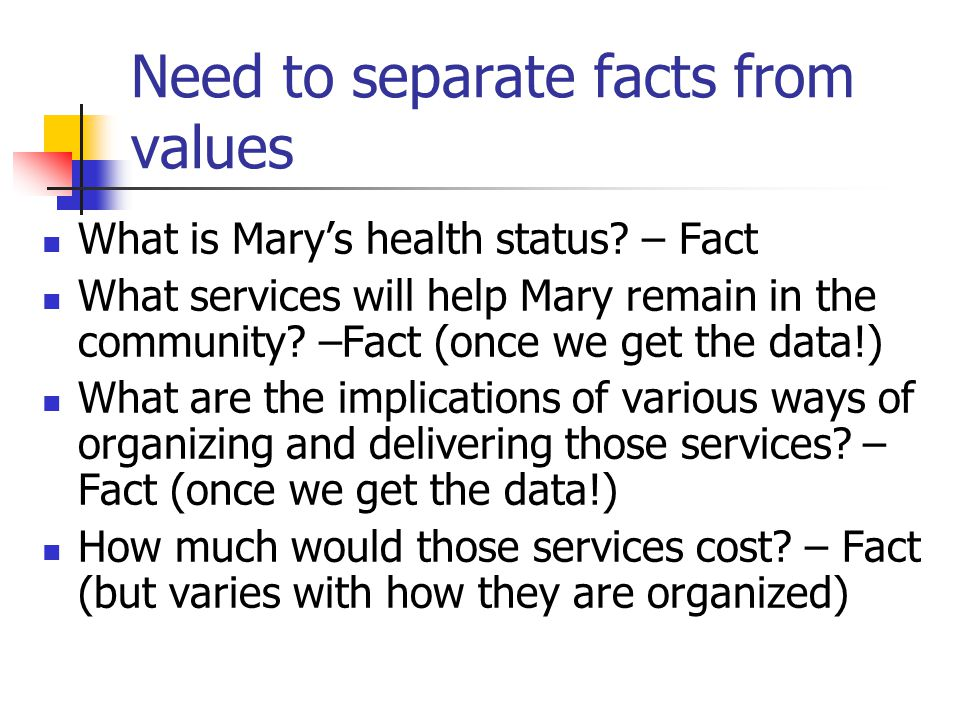 Policy issue: institutional constraints Canada Health Act requires coverage based on: Where care delivered (in hospital) Or by whom (physicians) Governments can insure beyond this But they are not required to Community support services do not fall under CHA Should this be changed?
