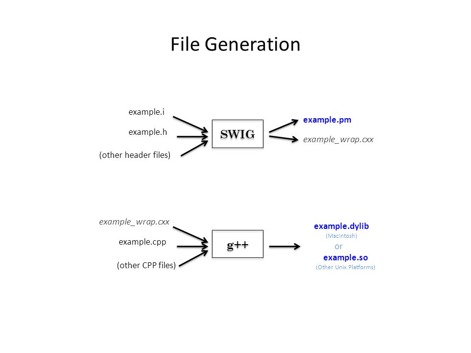 File Generation example.i example.h (other header files) example.pm example_wrap.cxx SWIG example.cpp (other CPP files) example.dylib (MacIntosh) g++ example.so (Other Unix Platforms) or example_wrap.cxx