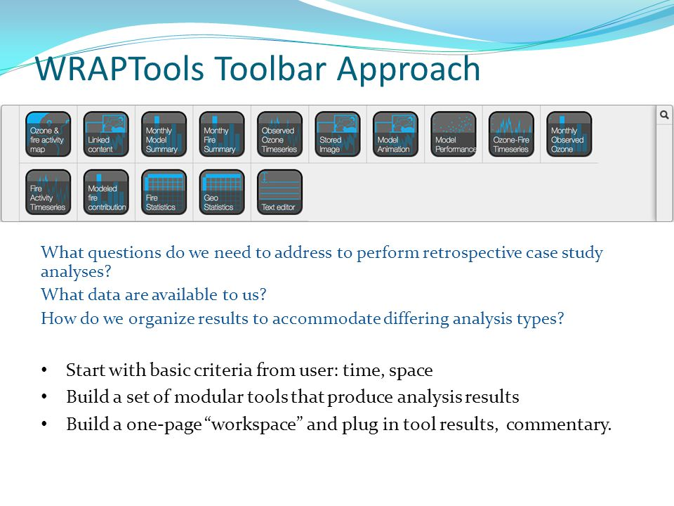 WRAPTools Toolbar Approach What questions do we need to address to perform retrospective case study analyses.