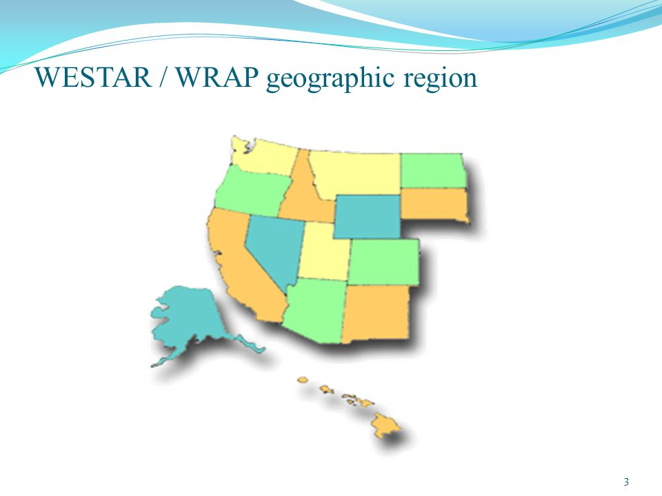 Organizations, continued WRAP = Western Regional Air Partnership www.wrapair2.org Same 15-state region as WESTAR Virtual organization, not incorporated 60+ member agencies include 15 state air agencies, NPS, FWS, BLM, USFS, EPA, and interested tribes and local air agencies/districts in the WRAP region Board has State and Tribal co-chairs, with representatives across states, tribes, federal, and local agencies.