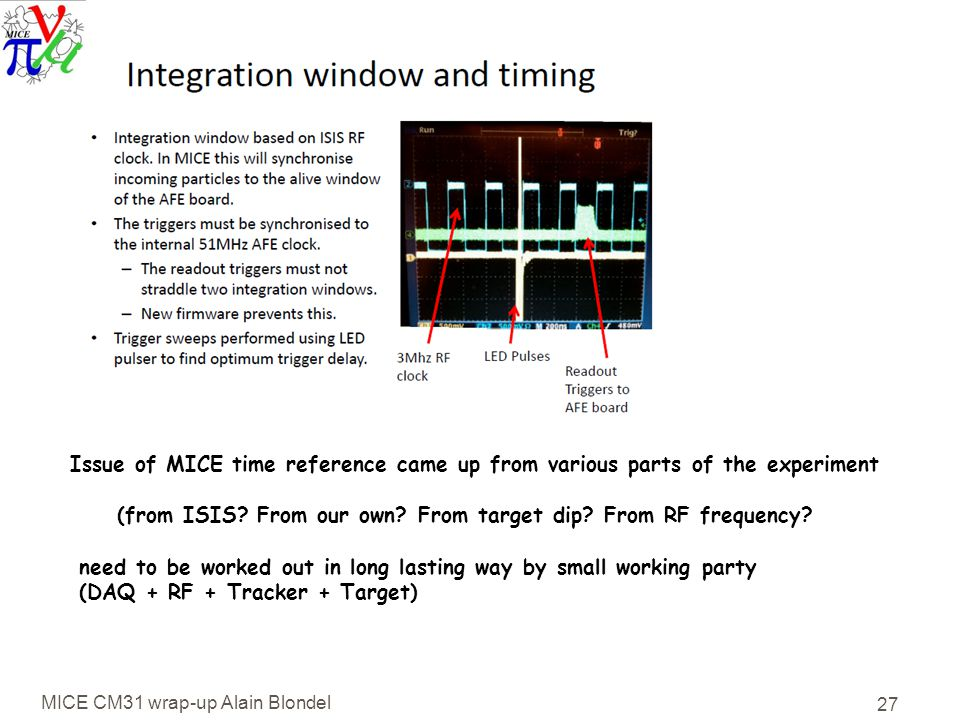 MICE CM31 wrap-up Alain Blondel 27 Issue of MICE time reference came up from various parts of the experiment (from ISIS.