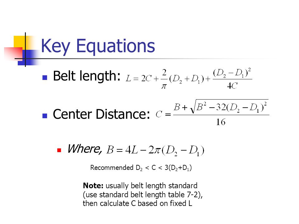 Key Equations Belt length: Center Distance: Where, Note: usually belt length standard (use standard belt length table 7-2), then calculate C based on fixed L Recommended D 2 < C < 3(D 2 +D 1 )