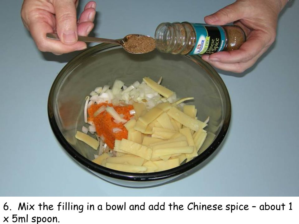 6. Mix the filling in a bowl and add the Chinese spice – about 1 x 5ml spoon.