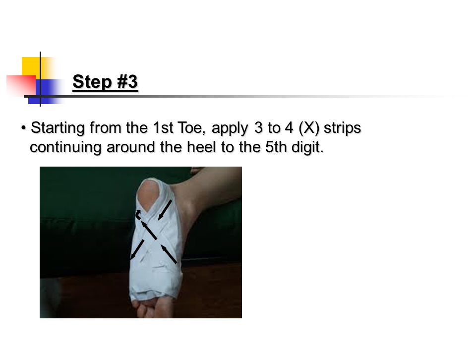 Step #2 Apply 1 or 2 anchor strips around heelApply 1 or 2 anchor strips around heel continuing around both sides of foot.