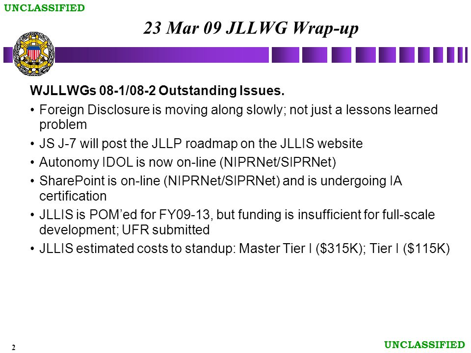 2 UNCLASSIFIED 23 Mar 09 JLLWG Wrap-up WJLLWGs 08-1/08-2 Outstanding Issues.