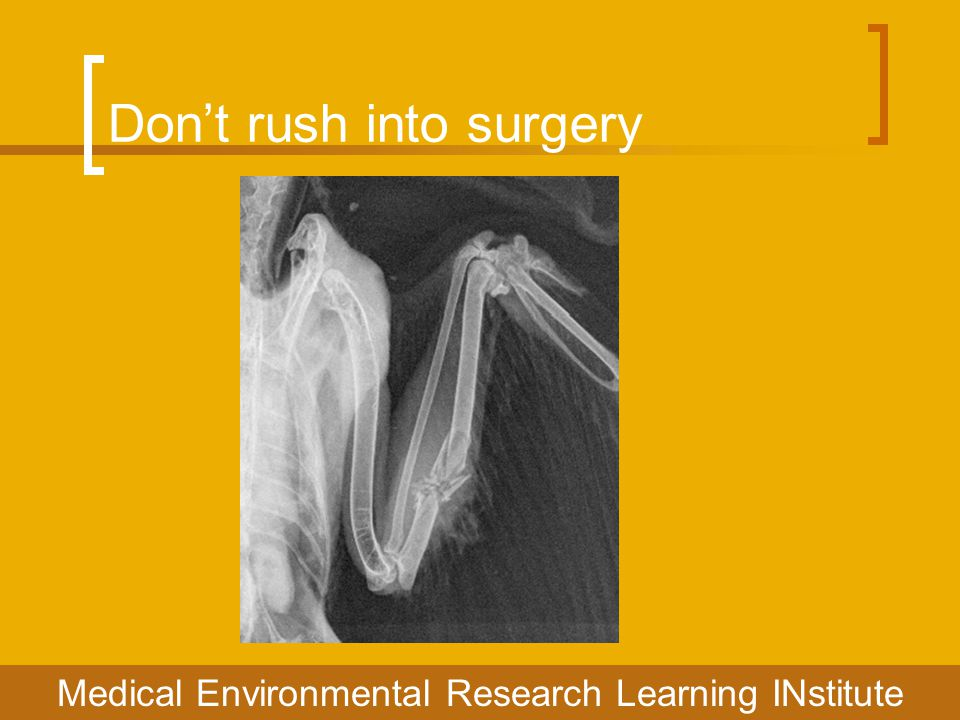 Don't rush into surgery Medical Environmental Research Learning INstitute
