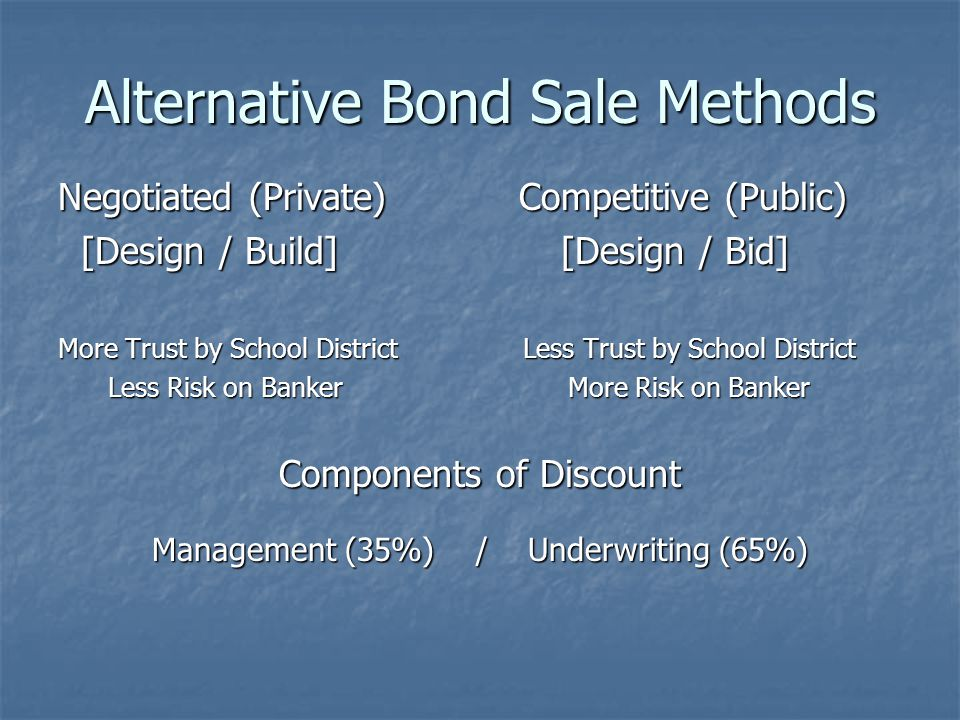 Alternative Bond Sale Methods Negotiated (Private) Competitive (Public) [Design / Build] [Design / Bid] [Design / Build] [Design / Bid] More Trust by School District Less Trust by School District Less Risk on Banker More Risk on Banker Less Risk on Banker More Risk on Banker Components of Discount Management (35%) / Underwriting (65%)