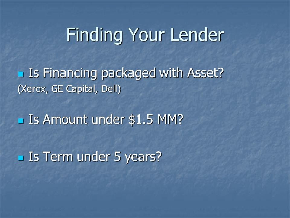 Finding Your Lender Is Financing packaged with Asset.