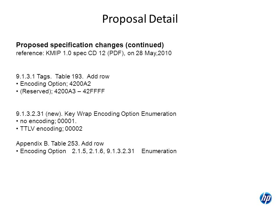 Proposal Detail Proposed specification changes (continued) reference: KMIP 1.0 spec CD 12 (PDF), on 28 May,2010 9.1.3.1 Tags.