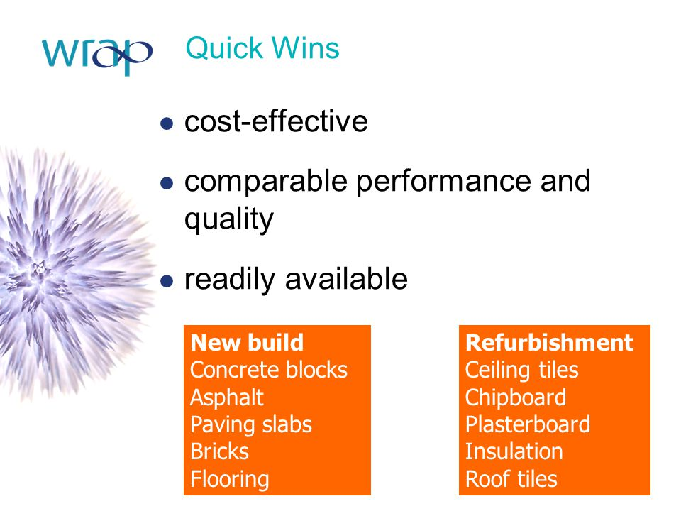 Quick Wins cost-effective comparable performance and quality readily available New build Concrete blocks Asphalt Paving slabs Bricks Flooring Refurbishment Ceiling tiles Chipboard Plasterboard Insulation Roof tiles