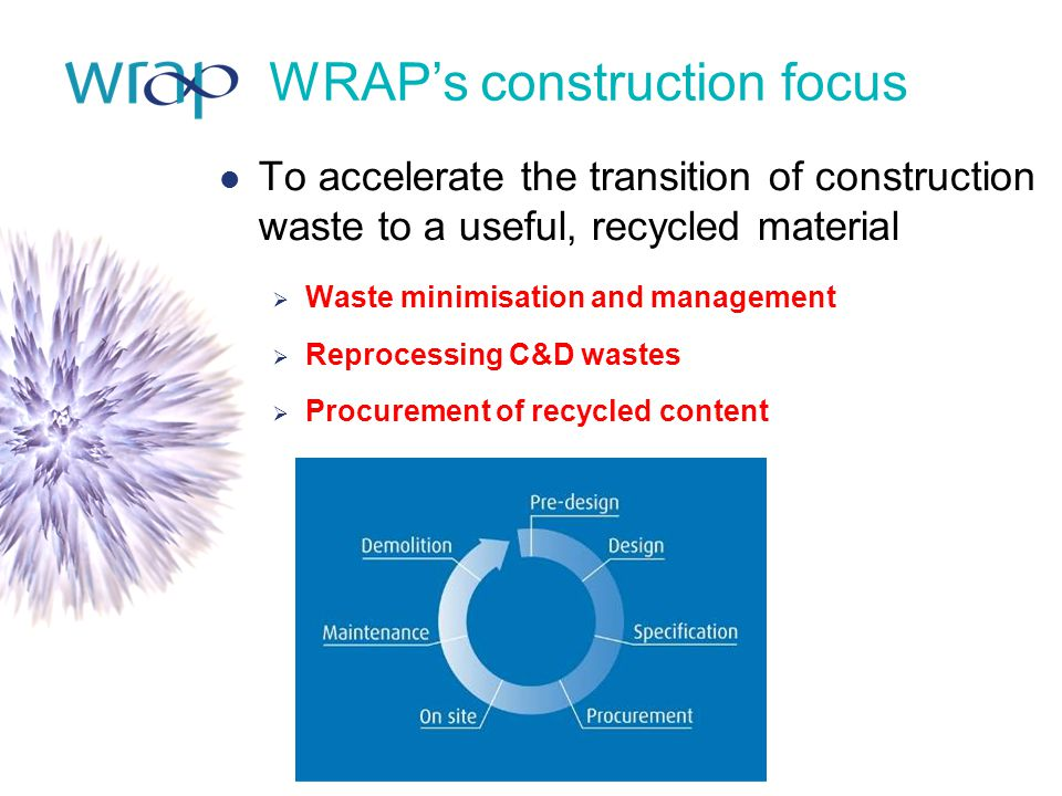 WRAP's construction focus To accelerate the transition of construction waste to a useful, recycled material  Waste minimisation and management  Reprocessing C&D wastes  Procurement of recycled content