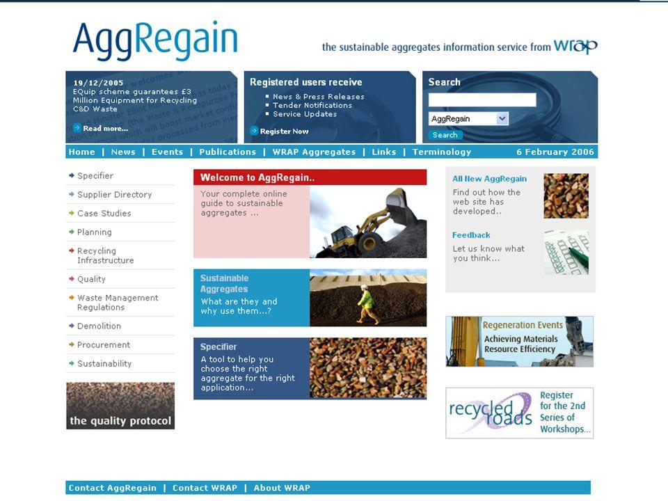 www.aggregain.org. uk WRAP and regeneration