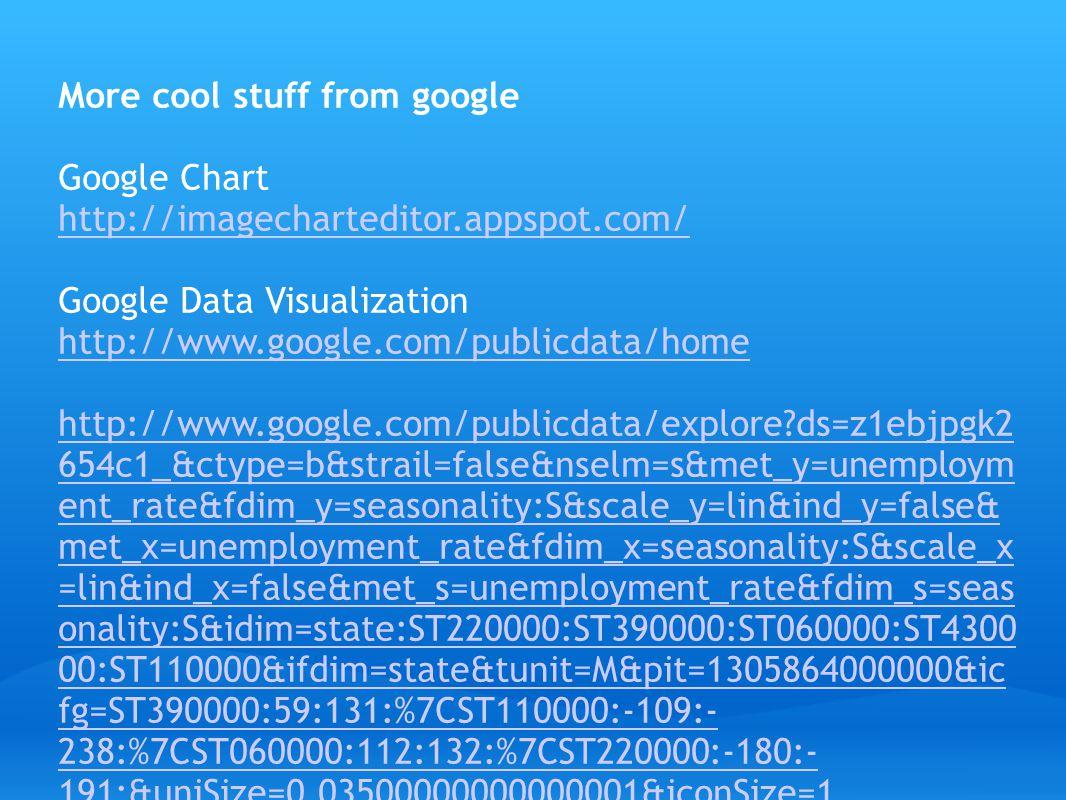 More cool stuff from google Google Chart http://imagecharteditor.appspot.com/ Google Data Visualization http://www.google.com/publicdata/home http://w