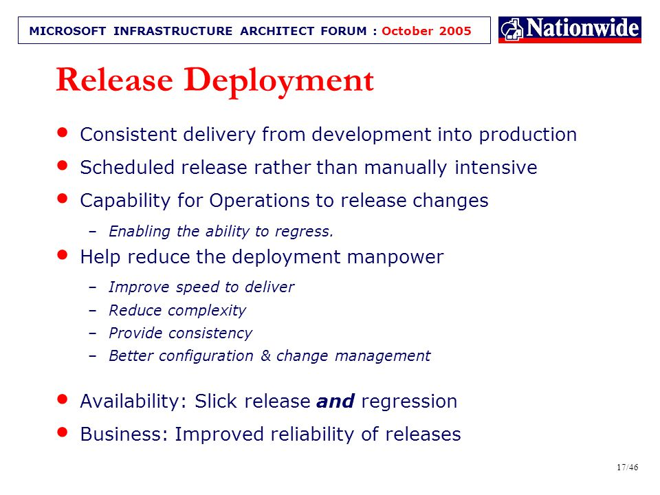 16/46 MICROSOFT INFRASTRUCTURE ARCHITECT FORUM : October 2005 Release Deployment