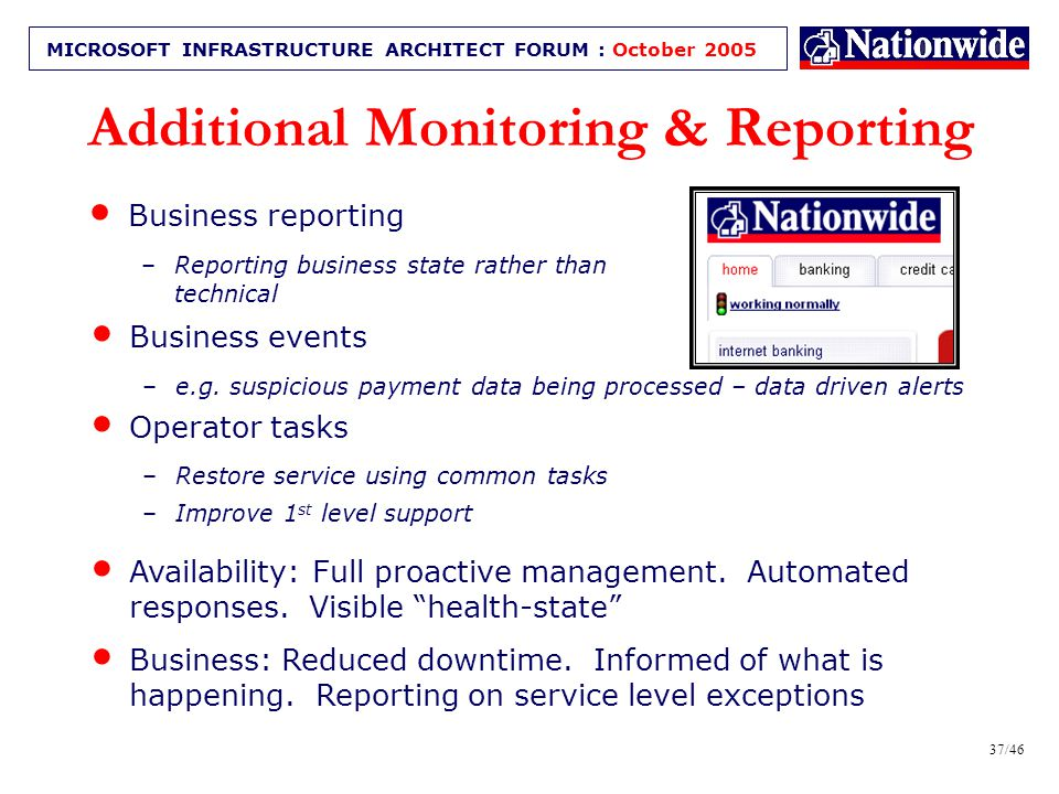 36/46 MICROSOFT INFRASTRUCTURE ARCHITECT FORUM : October 2005 Business & information Monitoring Kev Robinson