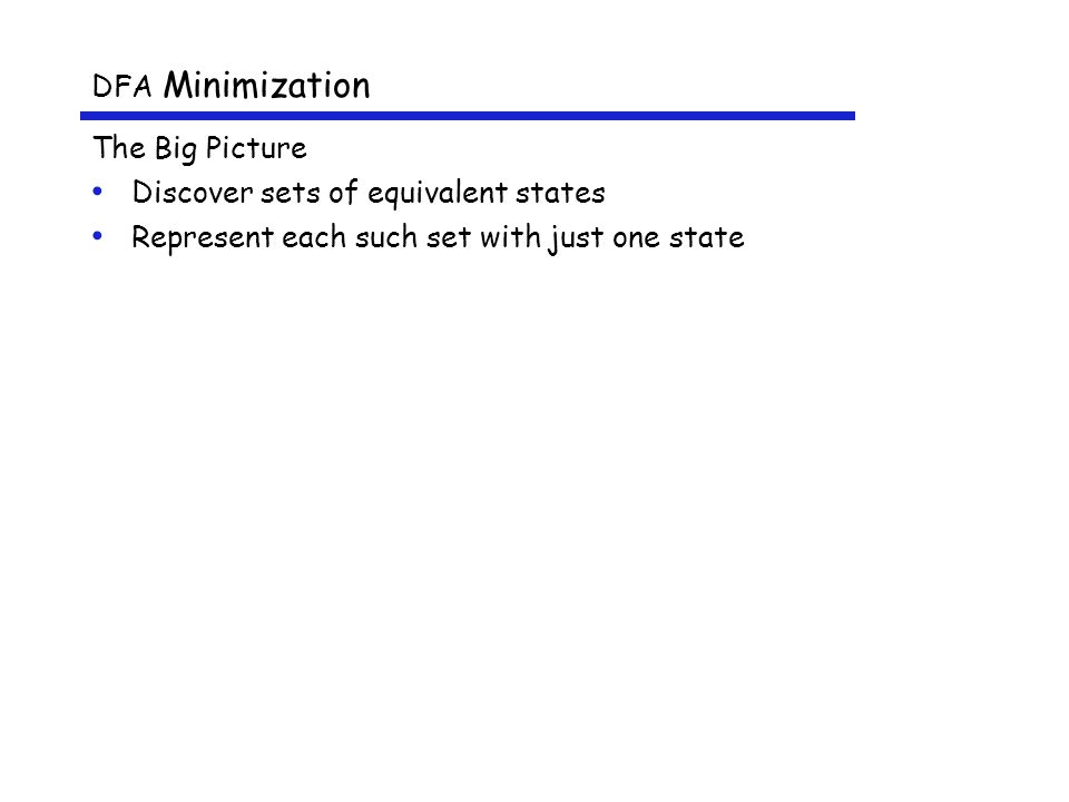 DFA Minimization The Big Picture Discover sets of equivalent states Represent each such set with just one state