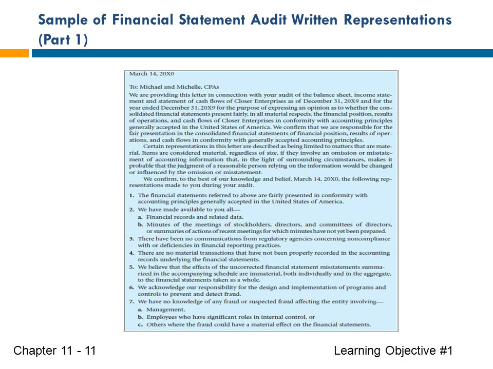 Sample of Financial Statement Audit Written Representations (Part 1) Learning Objective #1Chapter 11 - 11