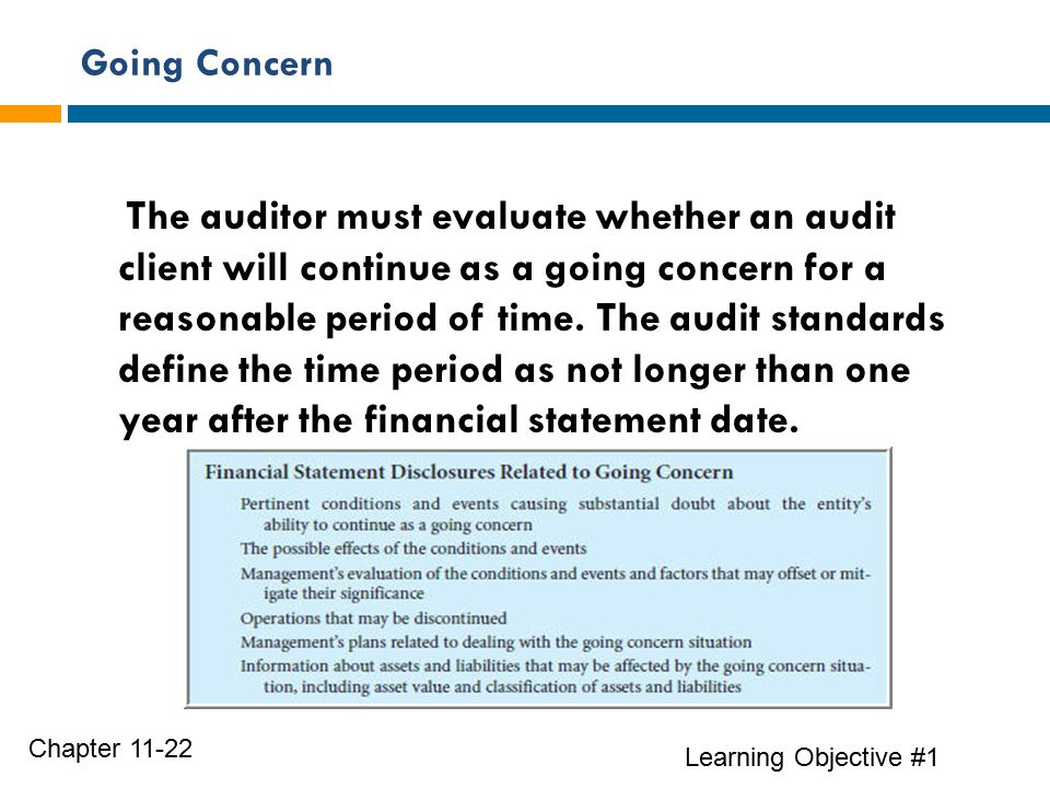 Going Concern Learning Objective #1 Chapter 11-22 The auditor must evaluate whether an audit client will continue as a going concern for a reasonable period of time.