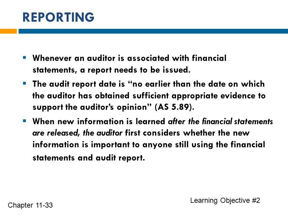 REPORTING Learning Objective #2 Chapter 11-33  Whenever an auditor is associated with financial statements, a report needs to be issued.