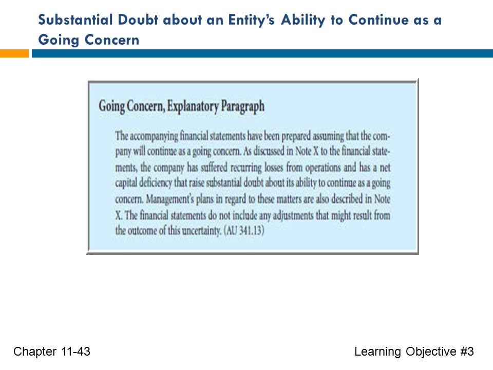 Substantial Doubt about an Entity's Ability to Continue as a Going Concern Learning Objective #3Chapter 11-43
