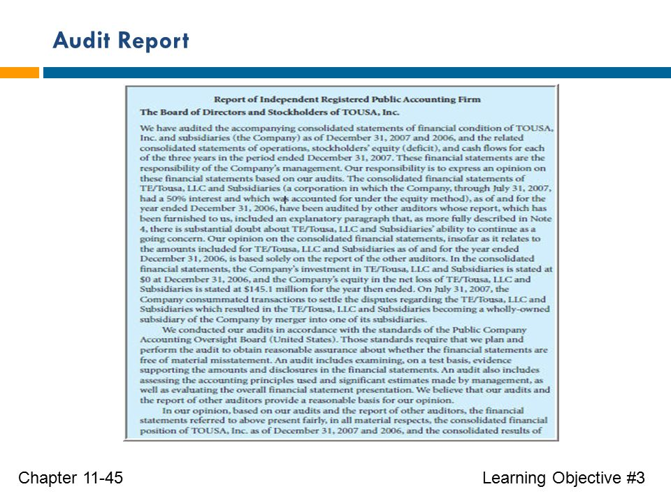Audit Report Learning Objective #3Chapter 11-45