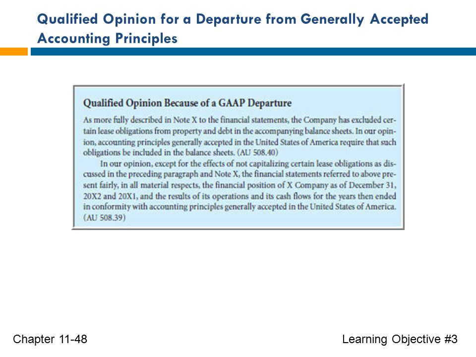 Qualified Opinion for a Departure from Generally Accepted Accounting Principles Learning Objective #3Chapter 11-48
