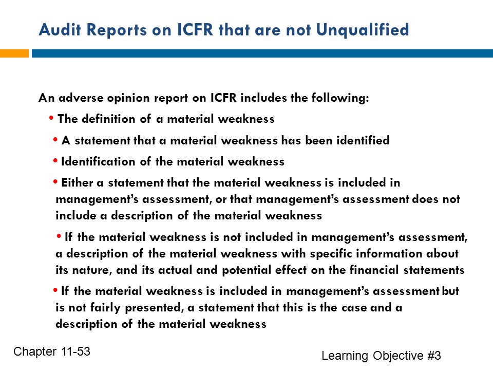 Audit Reports on ICFR that are not Unqualified Learning Objective #3 Chapter 11-53 An adverse opinion report on ICFR includes the following: The definition of a material weakness A statement that a material weakness has been identified Identification of the material weakness Either a statement that the material weakness is included in management's assessment, or that management's assessment does not include a description of the material weakness If the material weakness is not included in management's assessment, a description of the material weakness with specific information about its nature, and its actual and potential effect on the financial statements If the material weakness is included in management's assessment but is not fairly presented, a statement that this is the case and a description of the material weakness
