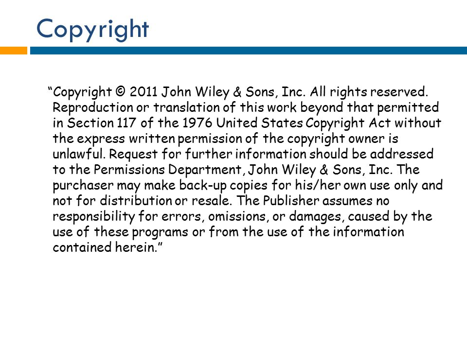 Copyright Copyright © 2011 John Wiley & Sons, Inc.