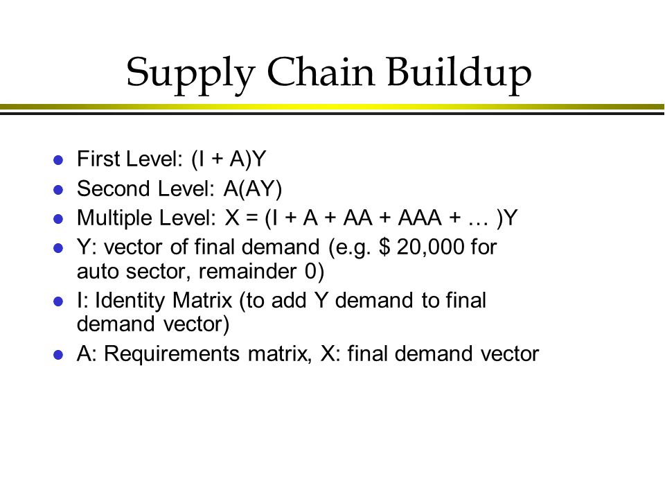 Supply Chain Buildup l First Level: (I + A)Y l Second Level: A(AY) l Multiple Level: X = (I + A + AA + AAA + … )Y l Y: vector of final demand (e.g.