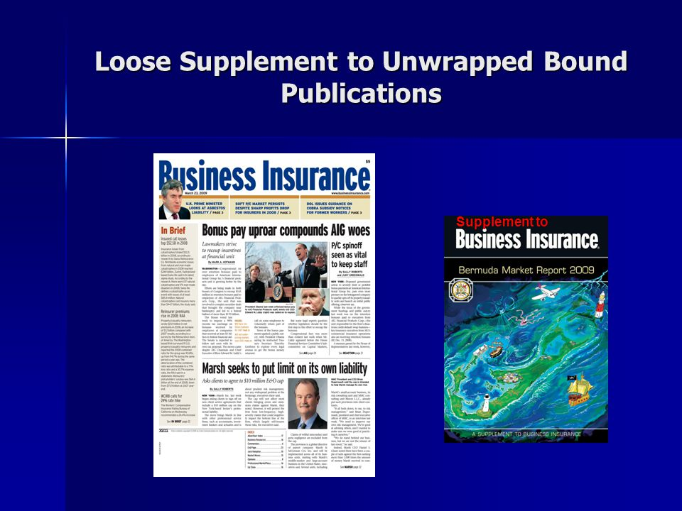 Loose Supplement to Unwrapped Bound Publications Supplement to