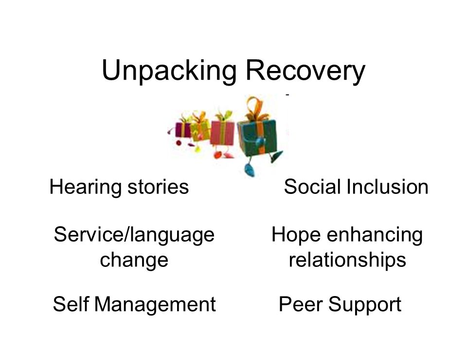 Unpacking Recovery Self ManagementPeer Support Social InclusionHearing stories Service/language change Hope enhancing relationships