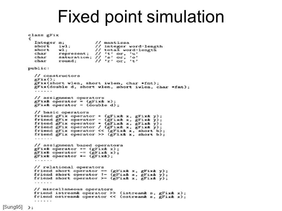 Fixed point simulation [Sung95]