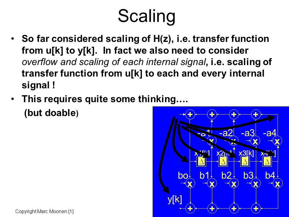 Scaling So far considered scaling of H(z), i.e. transfer function from u[k] to y[k].