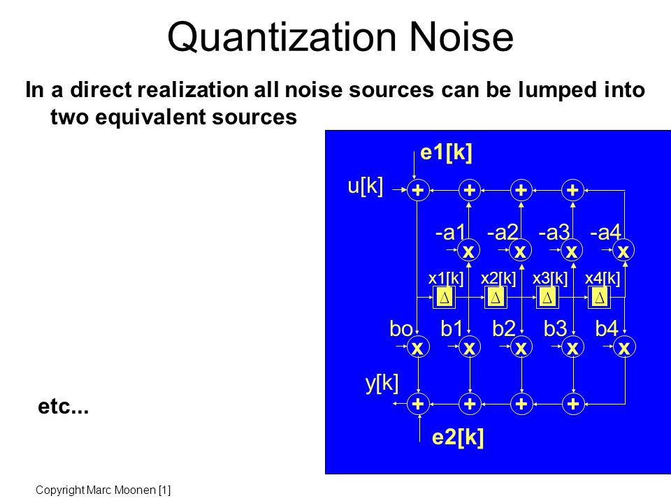 Quantization Noise In a direct realization all noise sources can be lumped into two equivalent sources etc...