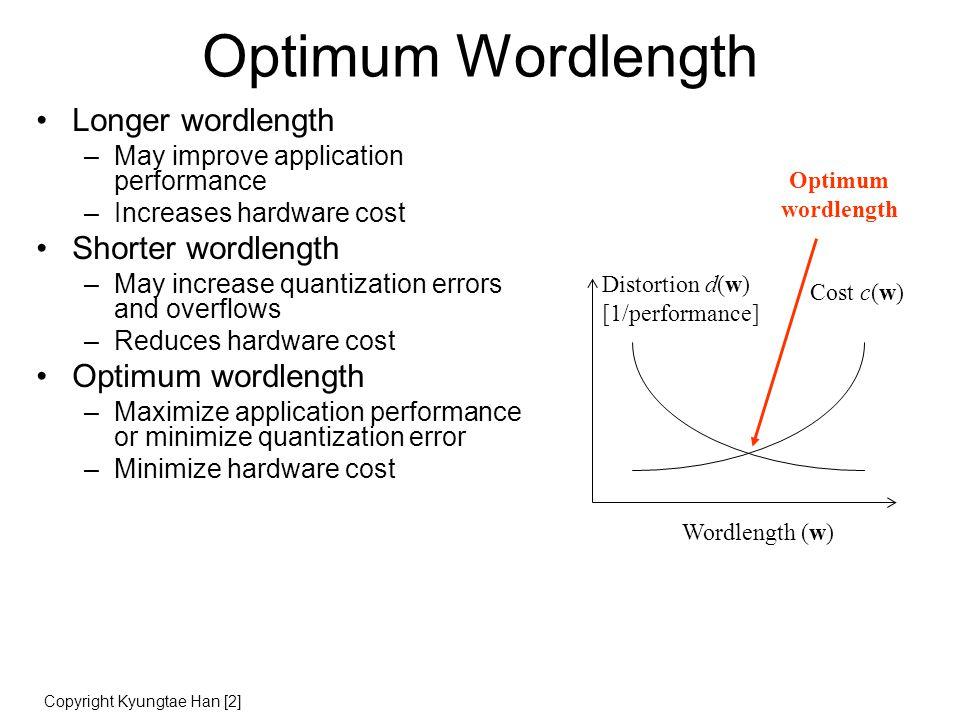 Quantization Noise Quantization mechanisms: Rounding Truncation Magnitude Truncation mean=0 mean=(-0.5)LSB (biased!) mean=0 variance=(1/12)LSB^2 variance=(1/12)LSB^2 variance=(1/6)LSB^2 input probability error output Copyright Marc Moonen [1]